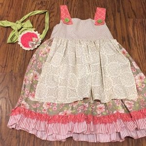 Persnickety size 6 dress with matching hairbow